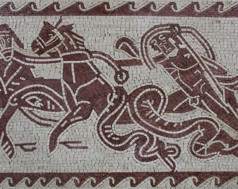 Strong Man Horses Wave Border Mural Home Decor Marble Mosaic AN1147