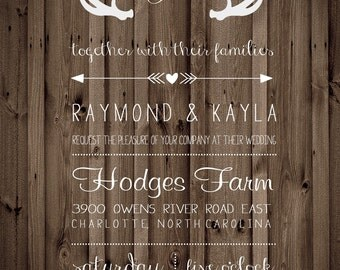 Country Rustic wood antlers Wedding Invitation Digital Download File