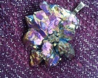 Rainbow Pyrite Cluster Agate Stone Purple Hologram Necklace Pendant