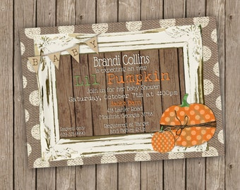 Pumpkin Baby Shower Invitation - Fall Baby Shower - printable 5x7