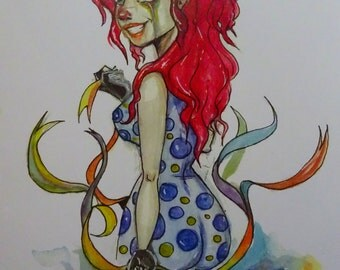 Red clown watercolor painting 7.5'' by 11'' print