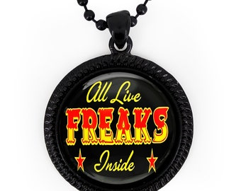 Jet Black Retro Freak Show Sign Glass Oddity Pendant Necklace 165-JBRN
