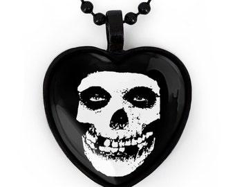 Misfits Glenn Danzig Crimson Skull Jet Black Heart Pendant Necklace 179-JBHN