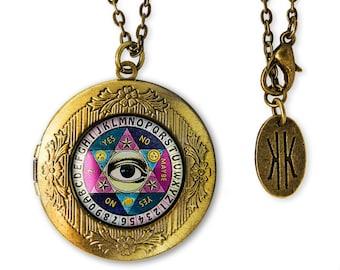 Antique Bronze Seeing Eye Ouija Board Glass Horror Keepsake Locket Necklace 49-BRLN
