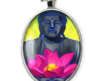 Shiny Silver Serene Healing Lotus Flower & Buddha Oval Zen Glass Pendant Necklace 238-SON