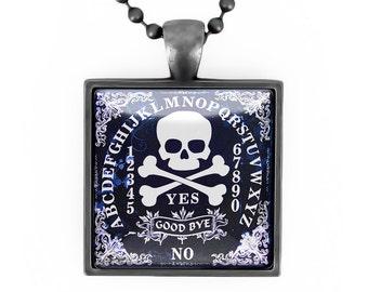 Gunmetal Black Gothic Jolly Roger Skull & Crossbones Ouija Board Glass Horror Pendant Necklace 44-GMSN