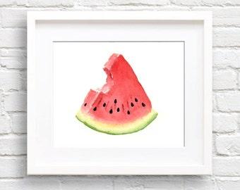 Watermelon Slice - Art Print - Kitchen Wall Decor - Watercolor Painting