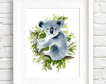 Koala Bear Art Print - Nursery Art - Wall Decor - Watercolor Painting