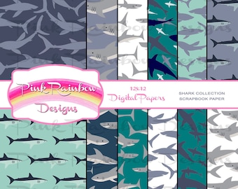 Sharks Swimming Pattern Digital Scrapbook Paper | Jaws | Beware | Deep Blue Sea | Great White | Ocean | Nautical