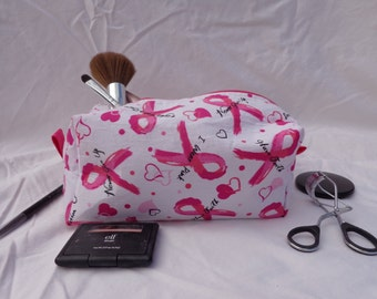 Pink Breast Cancer Large Zippered Box Bag