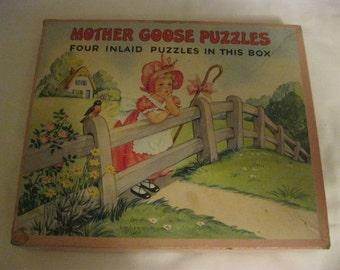Mother Goose 4 Vintage Nursery Rhymes Puzzles in Original Box