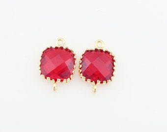 G000107C/Garnet/Gold plated over brass/Tooth Framed square faceted glass connector/9mm x 13.4mm/2pcs