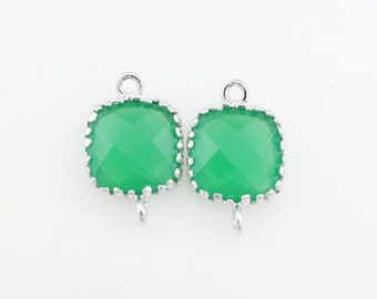 G000117C/ Palace Green Opal/Rhodium plated over brass/Tooth Framed square faceted glass connector/9mm x 13.4mm/2pcs