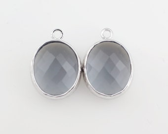 G000204P/Charcoal/Rhodium plated over brass/Chubby round faceted glass pendant/12mm x 16mm/2pcs