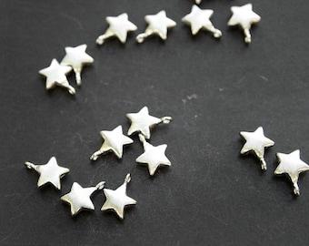 P0153/Anti-Tarnished Rhodium Plating Over Brass/Star Pendant /7 x9mm/4pcs