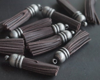 T000505/Dark Brown/Antique Silver plated over brass cap/Leather Tassel +Ball cap/30x7mm/2pcs