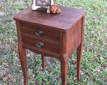 Authentic Antique Accent Table with Two Drawers / Entryway Table
