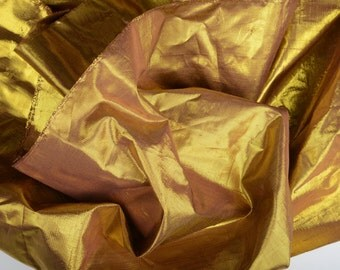 Metallic Silk Dupioni by the Yard - Shiny Gold and Radiant Orchid - Iridescent Designer Fabric