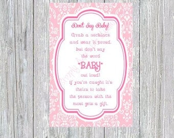 """Pretty Pink Baby Shower """"Dont Say Baby"""" Game"""