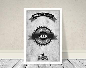 Best Geek Art, Retro Art, Vintage Art, Geek Art, Birthday gift
