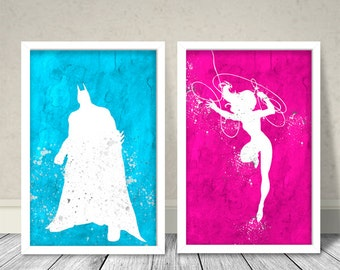 Batman and Wonder Woman Inspired Art, Nursery Art, Nursery gift,Superheroes , Kids Art, Wall Decor, Batman, Wonder Woman, Ciel, Pink