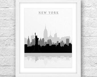 New York City, New York Print, New York Art, New York Skyline, Wall Art, Minimal Design, Minimalist Art, New York Printable,Instant Download