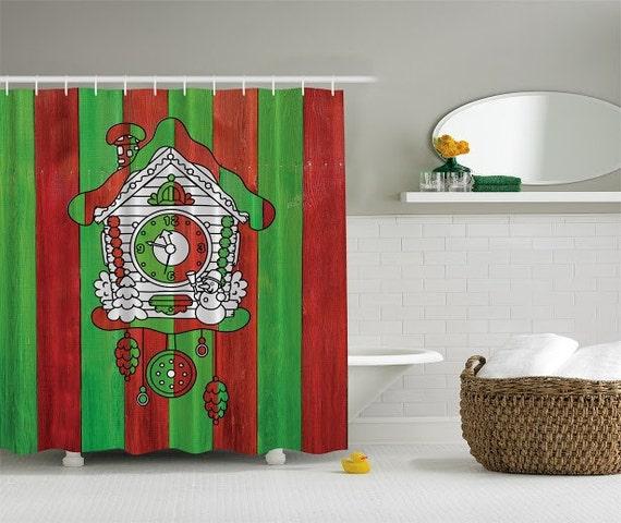 Shower Curtains-Christmas Clock Holiday Bathroom Curtain-Custom Made ...