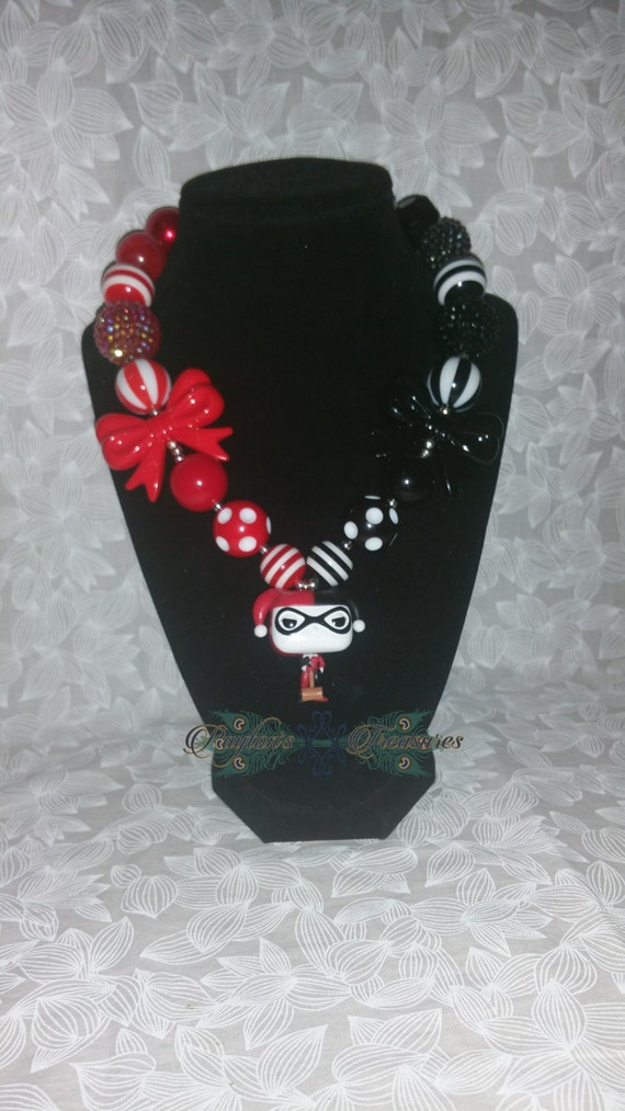 Items similar to harley quinn necklace red and black for Harley quinn and joker jewelry