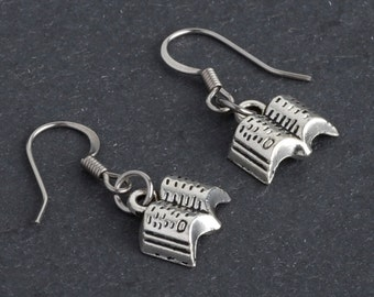 Open Book Dangle Earrings, Librarian Gift for Book Lover in Antique Silver