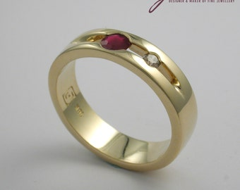 Champagne Diamond and Ruby Yellow Gold Ring