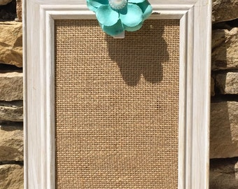 Antique burlap photo/note holder