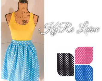 Polka do gathered skirt