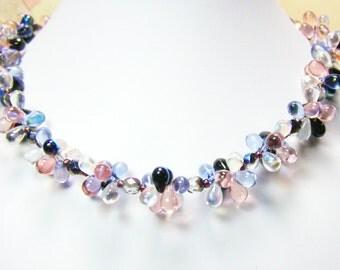 SALE - Blue-Pink Cluster Beaded Necklace Set