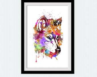 Wolf colorful print Wolf watercolor poster  Wolf illustration Home decoration Kids room decor Wall hanging decor Wolf wall decoration W316