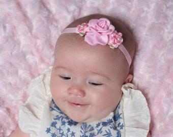 Pink flower baby headband-Pink newborn headband-Pink baptism headband-Pink christening headband-Pink hair bow-Light pink baby headband