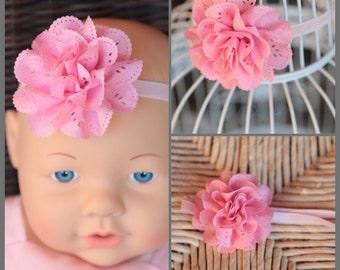 Light pink flower newborn baby toddler headband , infant headband , newborn headband photo prop, pink stretch headband