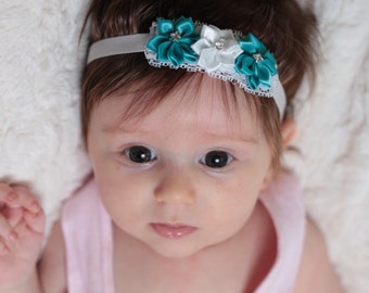 Teal and white baby headband-Teel and white newborn headband-Teel headband-White headband-Teel and white hair bow-Fall flower baby headband