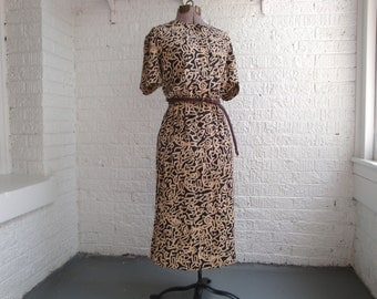 vintage 90s leslie fay petites abstract print navy/cream cinch waist dress, size 12p