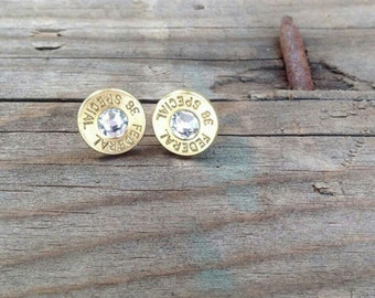 Bullet Earrings, ammo earring, shotgun shell jewelry, spent rounds hunting bullets, klassy rounds shell earrings hunting jewelry brass studs