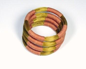 Set of 4 salmon goldengrass Brazilian bracelets
