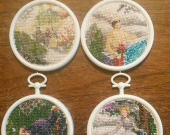 4pc Cinderella mini circle cross stitch set.