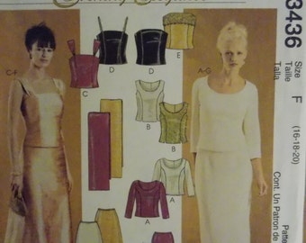 Sewing pattern McCall's 3436 misses'/petite lined tops, skirts and stole new uncut size 16 to 20