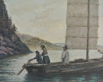 Original Oriental/Asian Painting on Canvas appear artist JunJin wonderful  sea/landscape/boat