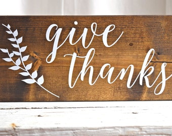 Give Thanks sign, Thanksgiving sign, Give Thanks wood sign, fall sign, autumn wood sign