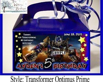 Pk 4 TRANSFORMERS BIRTHDAY Optimus Prime Bumble Bee Goody Box Favors or LABELS Personalized with your childs name etc.