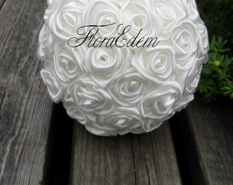 Bouquet of white roses. Handmade
