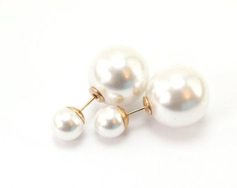 Double-Sided Pearl Earrings