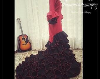 dressed bata de cola flamenco , flamenco dance bata de cola ,
