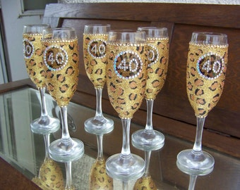 glittered leopard champagne flutes