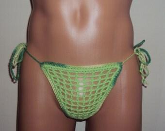 Men's String Open Crotch Crochet Handmade ''Mykonos Island''
